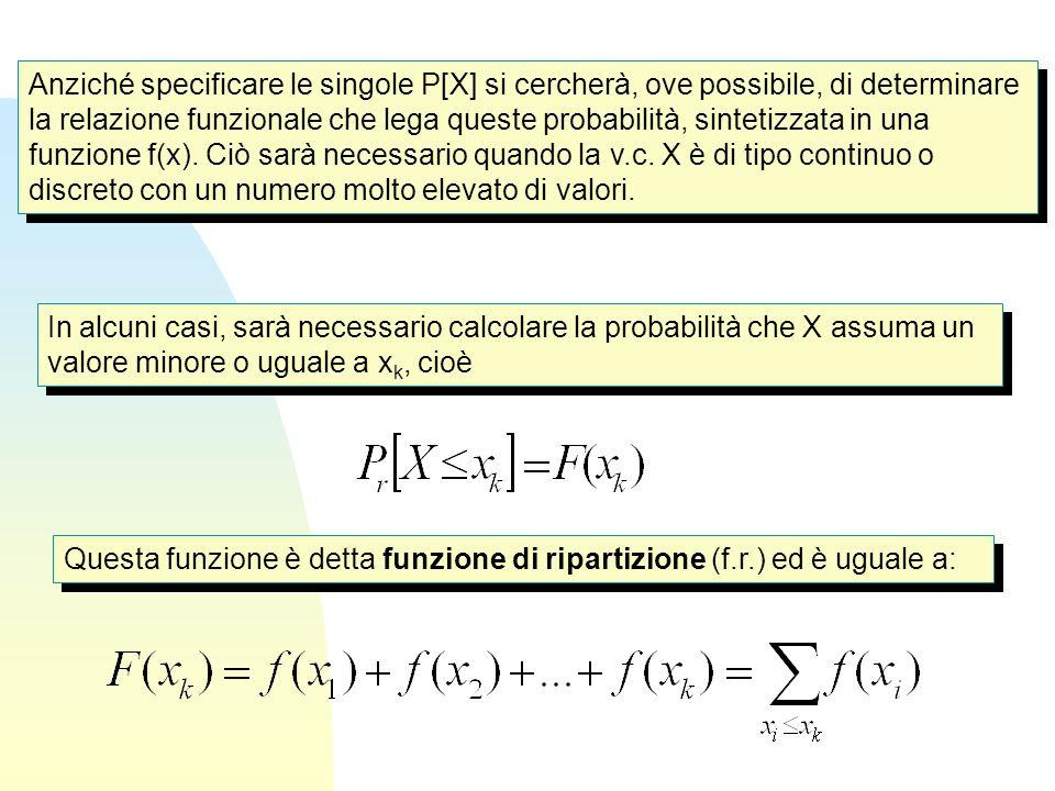 Anziché specificare le singole P[X] si cercherà, ove possibile, di determinare la relazione funzionale che lega queste probabilità, sintetizzata in una funzione f(x). Ciò sarà necessario quando la v.c. X è di tipo continuo o discreto con un numero molto elevato di valori.